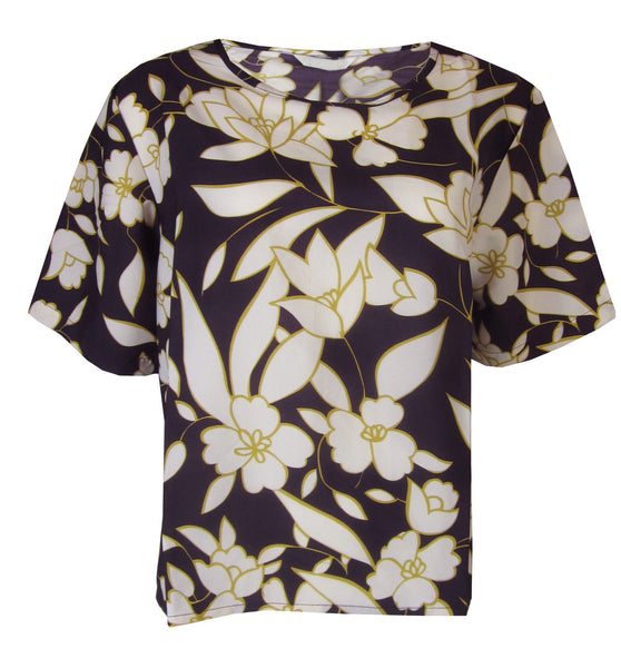Ladies Satin floral Blouse Top size 10 12 14 16