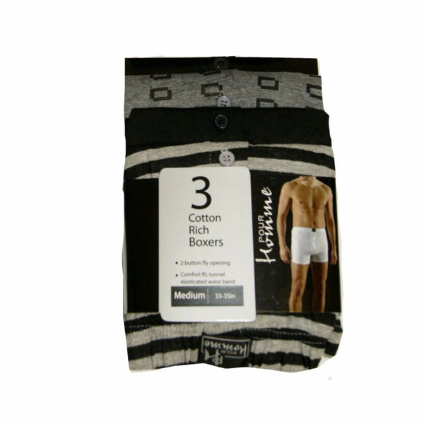 Mens Boys 3 Pack Boxer Shorts Cotton size M L XL Blue Grey