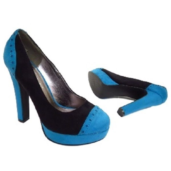 New Ladies Black Blue Faux Suede Shoes High Heel Size 3 4 party office work