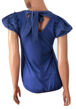 Ladies Blue t shirt/top back tie detail v neck holiday size 14