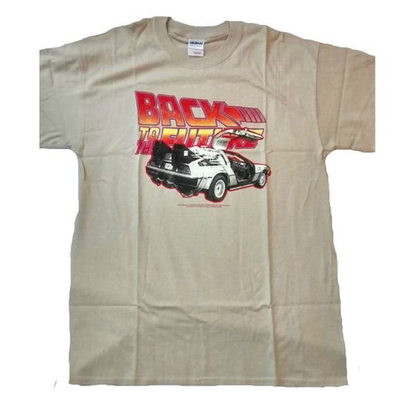 FREE P&P New Men retro Tshirt top Back to the Future Film Large in beige