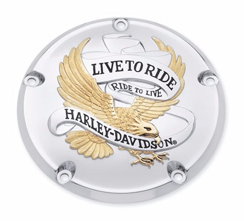 "Gold ""Live to Ride"" Collection Twin Cam Derby Cover"
