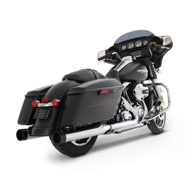 "Rinehart Racing- 2017-Later Touring 4"" Slip-On Mufflers Chrome with Black End Caps"