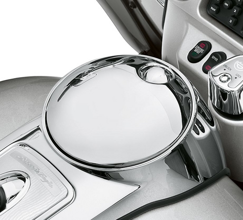 Smooth Push-Button Fuel Console Door Release - Chrome