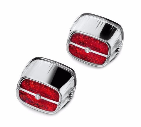 LED Tail Lamp with Bar & Shield Logo - Trike Red Lens Chrome Housing