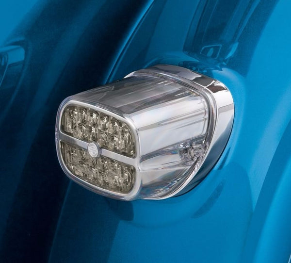 LED Tail Lamp with Bar & Shield Logo - Smoked Lens Chrome Housing