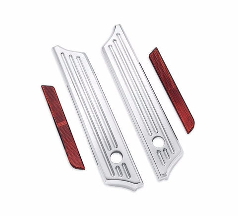 Billet Saddlebag Hinge Cover Kit - Chrome Grooved