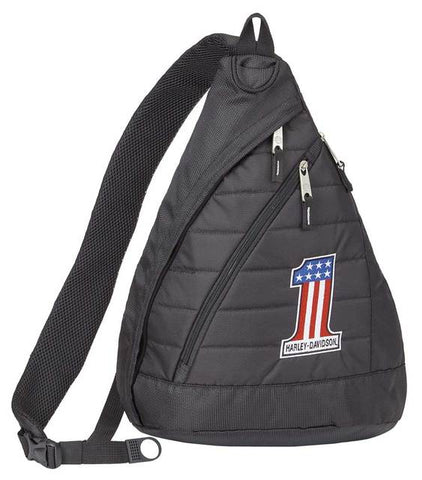 Harley-Davidson® #1 RWB Logo Quilted Travel Large Sling Backpack