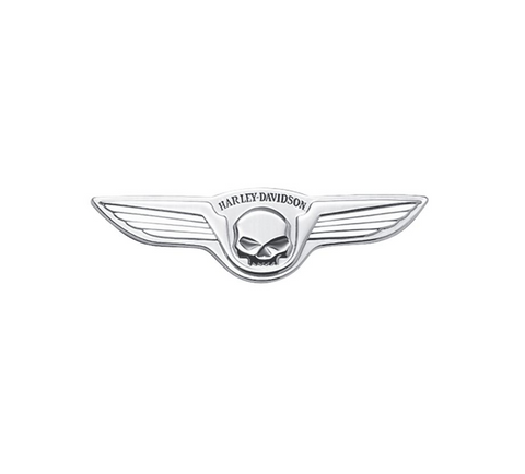 Skull with Wings Chrome Medallion