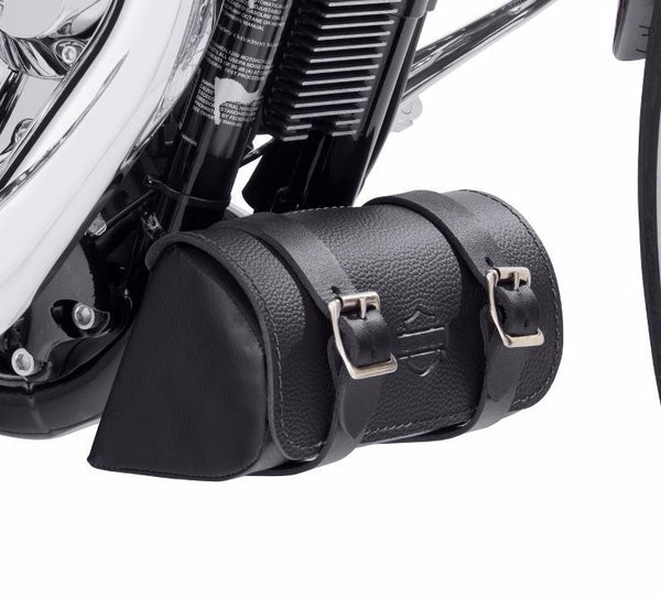 Leather Down Tube Bag - Black