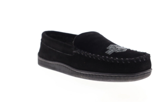 Clay Mens Black Suede Slip On Loafer Slippers