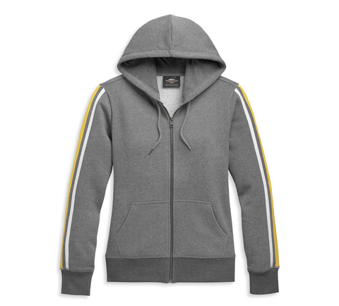 Women's Bar & Shield Sleeve Stripe Zip Front Hoodie