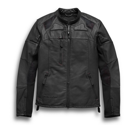 Men's FXRG Perforated Slim Fit Leather Jacket