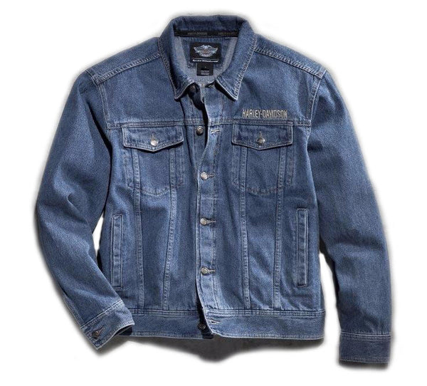 Men's Bar & Shield Logo Denim Jacket
