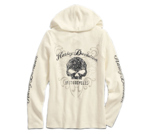 Women's Scroll Skull Hooded Henley