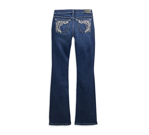 Women's Curvy Performance Stretch Boot Cut Embellished Jeans