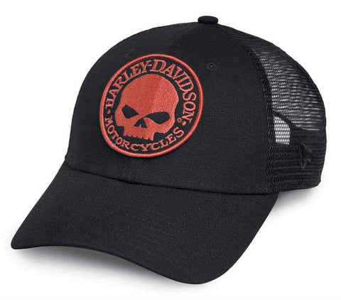 Men's Orange Skull Trucker Cap