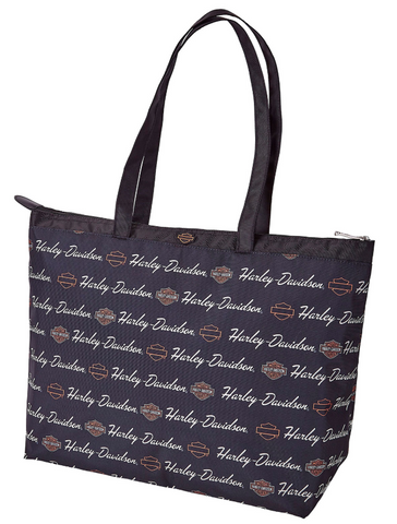 Harley-Davidson® Womens Signature B&S Travel Black Tote Bag