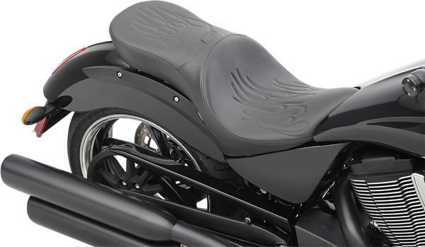 Drag Specialties Low Profile Touring Seat with Backrest Option Vegas Flame Stitch