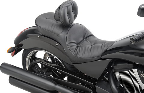 Drag Specialties Low Profile Touring Seat with Backrest Option Vegas Pillow Stitch