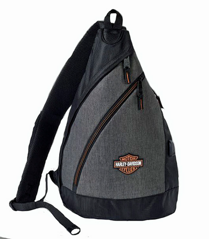 Deluxe USB Heathered Grey Travel Sling Backpack