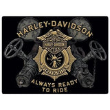H-D Always Ready to Ride Gauges Tin Sign