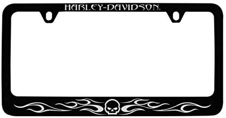 Willy G Skull & Flames, Black License Plate Frame Holder