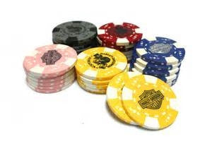 BLACK AND ORANGE POKER CHIP