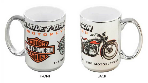 Vintage Motorcycle Ceramic Coffee Mug - 15oz - Silver