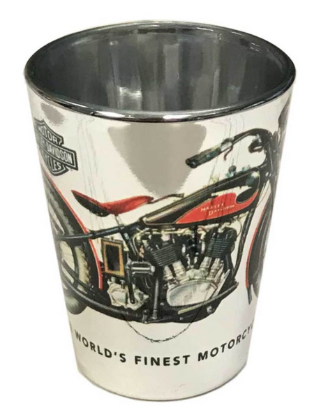 Harley-Davidson Vintage Motorcycle Shot Glass - Silver 2 oz