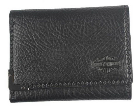 Men's Gunmetal Bar & Shield Leather Tri-Fold Wallet
