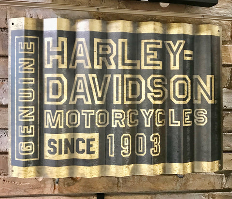 H-D Metal Corrugated Sign - Black/Gold