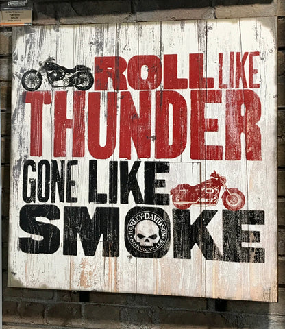 H-D Roll Like Thunder Wood Slats Sign