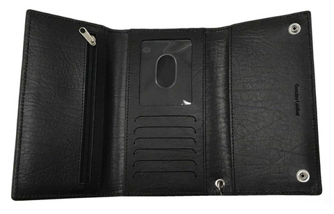 Men's B&S Biker Chain Tri-Fold Tall Leather Wallet