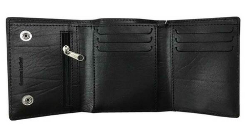 Men's B&S Biker Chain Tri-Fold Short Leather Wallet