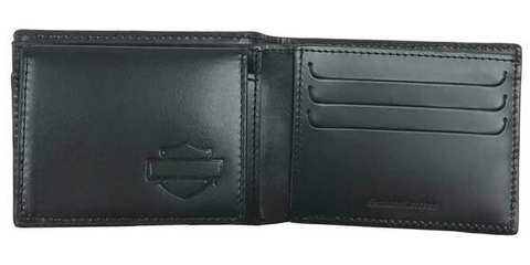 Men's Skull Medallion Leather Billfold with Removable ID