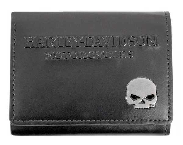Men's Willie G Skull Medallion Leather Tri-Fold Wallet