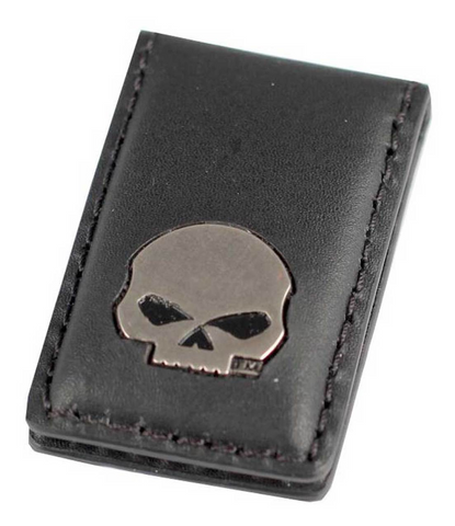 Mens Willie G Skull Medallion Leather Magnetic Money Clip