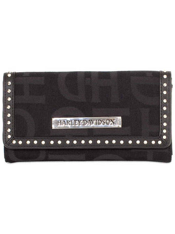 Womens Black H-D Logo Jacquard Clutch Wallet