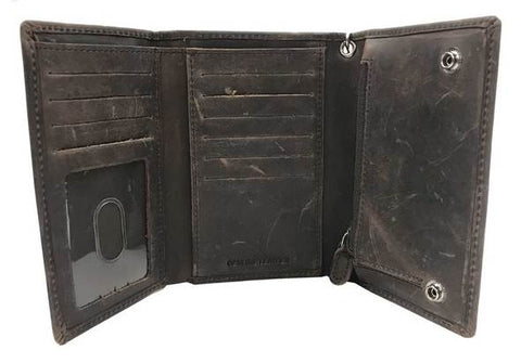Men's Crazy Horse Biker Tri-Fold Medium Wallet
