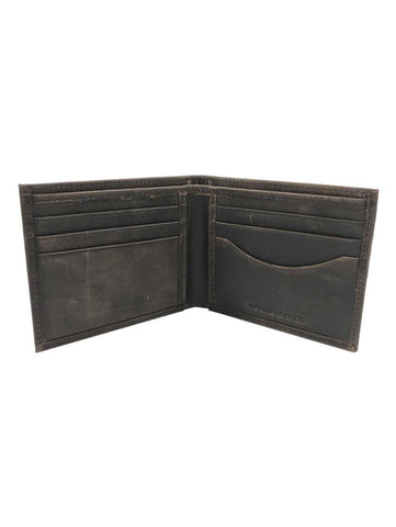 Mens Crazy Horse Leather Billfold Wallet - Brown/Black