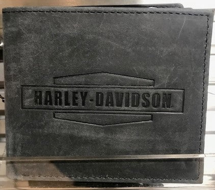 Mens Crazy Horse Leather Billfold Wallet - Gray/Black