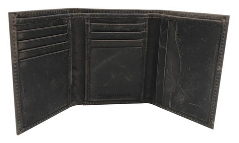 Mens Crazy Horse Tri-Fold Leather Wallet