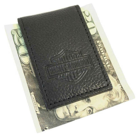 Men's B&S Embossed Leather Magnetic Money Clip