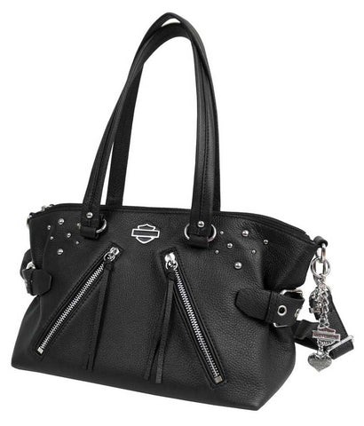Women's Studded Rider Leather Satchel Purse