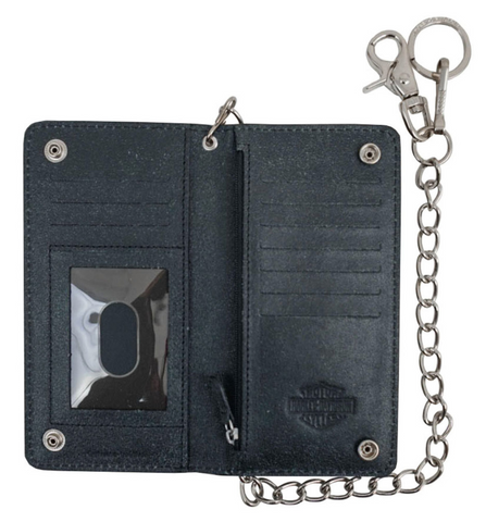Men's Skull Graphite Bi-Fold Tall Leather Wallet