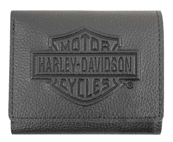 Men's Embossed B&S Logo Leather Tri-Fold Wallet