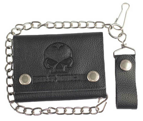 Men's Embossed Willie G Skull Medium Trucker Wallet