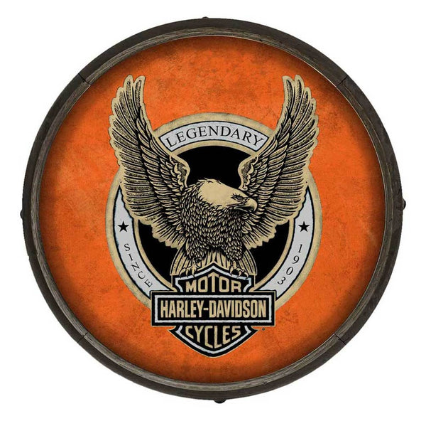 Harley-Davidson Up-Winged Eagle Wooden Barrel End Sign