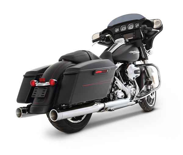 "Rinehart Racing- 1995-2016 Touring 4"" Slip-On Mufflers Chrome With Chrome End Caps"